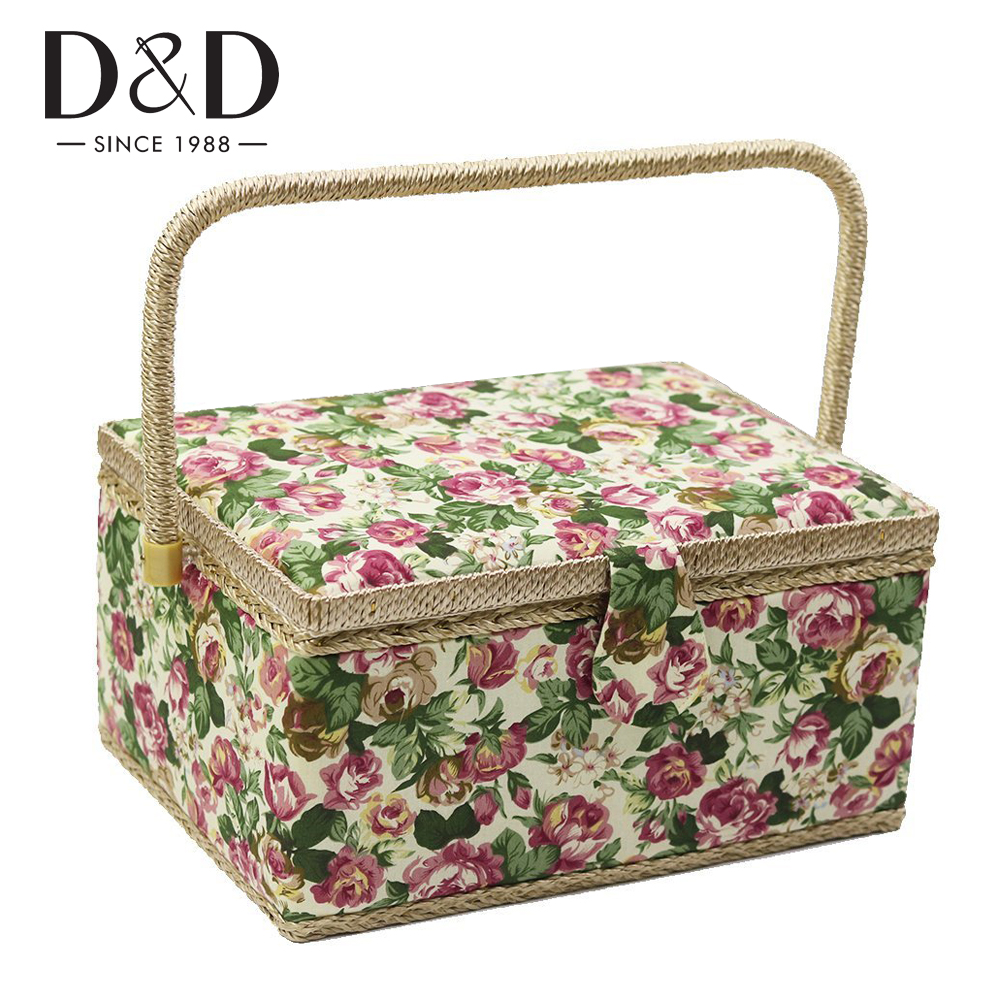 D/&D Large Sewing Basket Organizer with Hand Sewing Supplies and Notions Flower