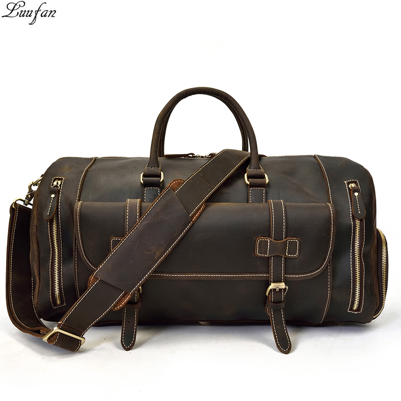 Men Thick Leather Travel Bag With Shoe Pocket 20