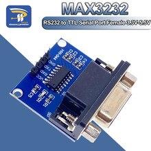 Max3232 rs232 para ttl porta serial conversor módulo fêmea db9 conector max232 placa intermitente para arduino