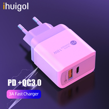 ihuigol EU/UK Dual USB Phone Charger Quick Charge 3.0 For iPad iPhone Xiaomi Samsung Plug 18W Type C PD Fast Wall Charger Adapte 18w fast usb charger adapter support quick charge 3 0 usb type c pd charger mini portable phone charger for iphone huawei xiaomi