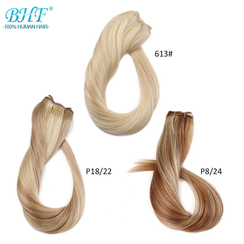 "BHF 100% Human Hair Weaves Straight Russian Machine Made Remy Natural Hair Weft 1piece 100g 18"" To 26"" Black Brown Blonde Color"