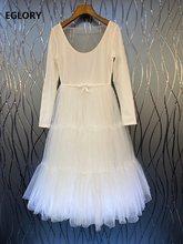 Balo elbise 2021 bahar moda kadınlar derin U boyun seksi tül Mesh Patchwork uzun kollu Casual elbise bayanlar beyaz elbise tatlı