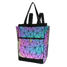 Luminous Backpacks for Girls Daily Backpack School Female Geometric Folding Travel Bagpack Mochila Backpacks Computer Bag kisumater matt color backpacks women bag geometry sequins folding luminous baobao backpack student s school bag free shipping