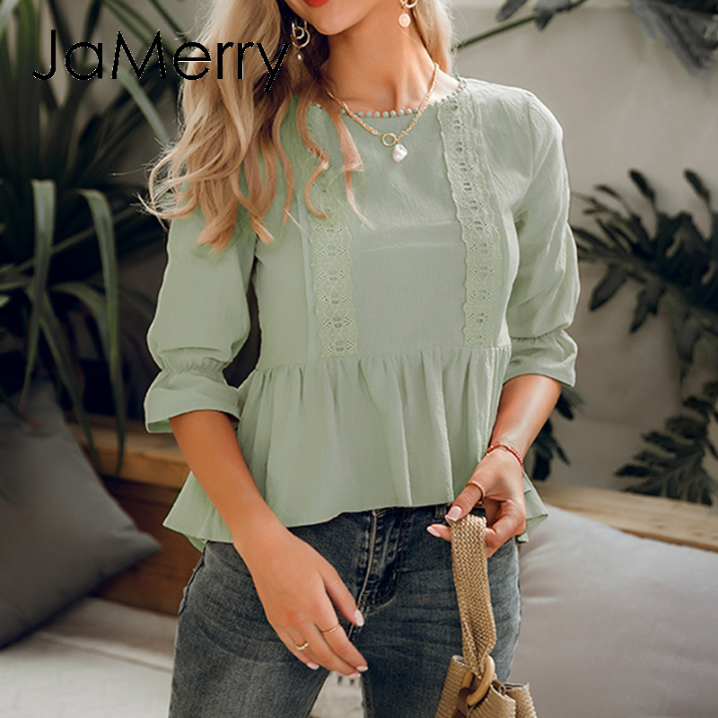 JaMerry Vintage Ruffled Lace Embroidery Women Blouse Shirt Elegant Elastic Sleeve Peplum Top Summer Casual Ladies Blouse Shirt
