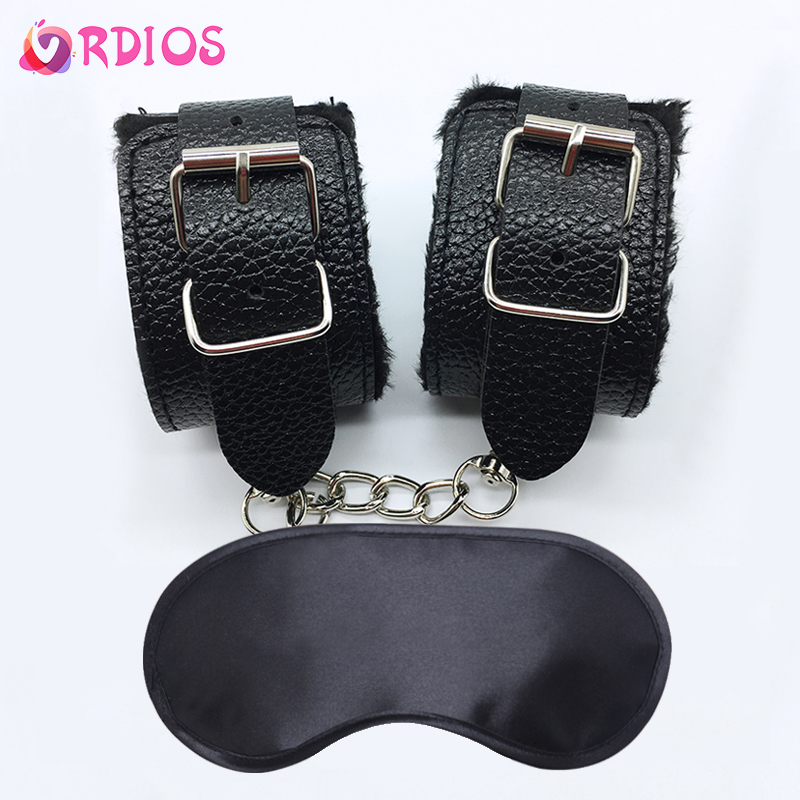 VRDIOS Sex Game BDSM Bondage Sex Handcuffs Ankle Cuff Restraints With Mask Adult Sex Toys For Women Couples Erotic Accessories