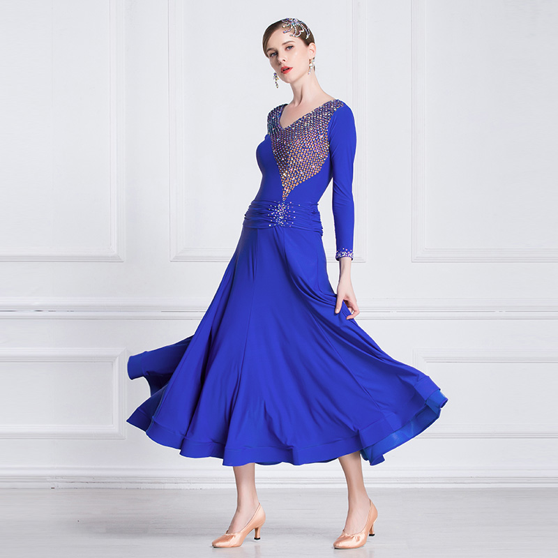 The new National standard modern dance clothing big pendulum dress practice clothing ballroom dancing Waltz M18183 1Latin   -