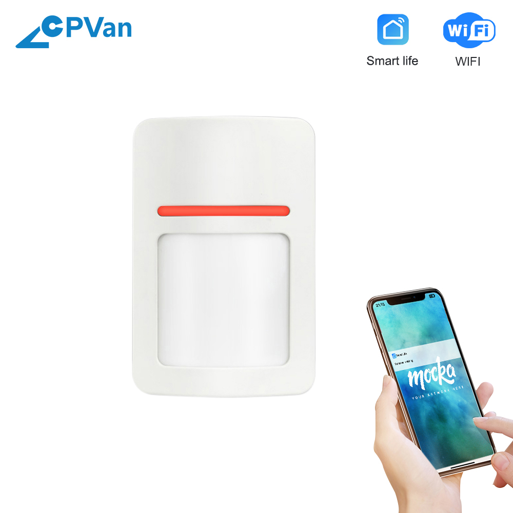 CPVan WiFi Motion Sensor Wireless WiFi Motion Detector Tuya APP Connection Phone Remote Control WiFi Infrared Detector Alarm