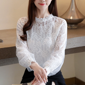 Solid Color Stand Collar Top Lace Shirt White 2020 New Lantern Long Sleeve Women Blouse Shirt Korean Fashion Clothing 885i lace applique lantern sleeve cold shoulder top