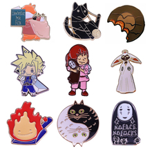 K2041 Spirited Away No face Man Metal Enamel Pins and Brooches for Lapel Pin Backpack Bags Anime Badge Collection Gifts v280 game mass effect metal enamel pins and brooches fashion lapel pin backpack bags badge collection
