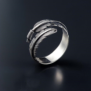 Retro High-quality Silver Color Jewelry Personality Feather Arrow Opening Rings Minimalist Geometric Double Line Adjustable Ring