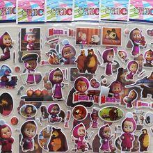5/10/20 штук 3d пузырь ПВХ стикер для детей с принтом с персонажем из мультфильма «Маша и Медведь» на день рождения деятельности Рождественский подарок favors виниловые наклейки на стену с рисунком