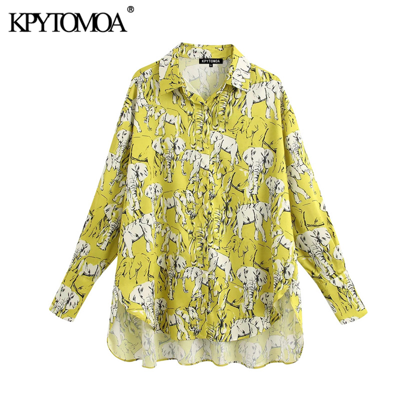 KPYTOMOA Women 2020 Fashion Animal Print Oversized Irregular Blouses Vintage Lapel Collar Long Sleeve Female Shirts Chic Tops
