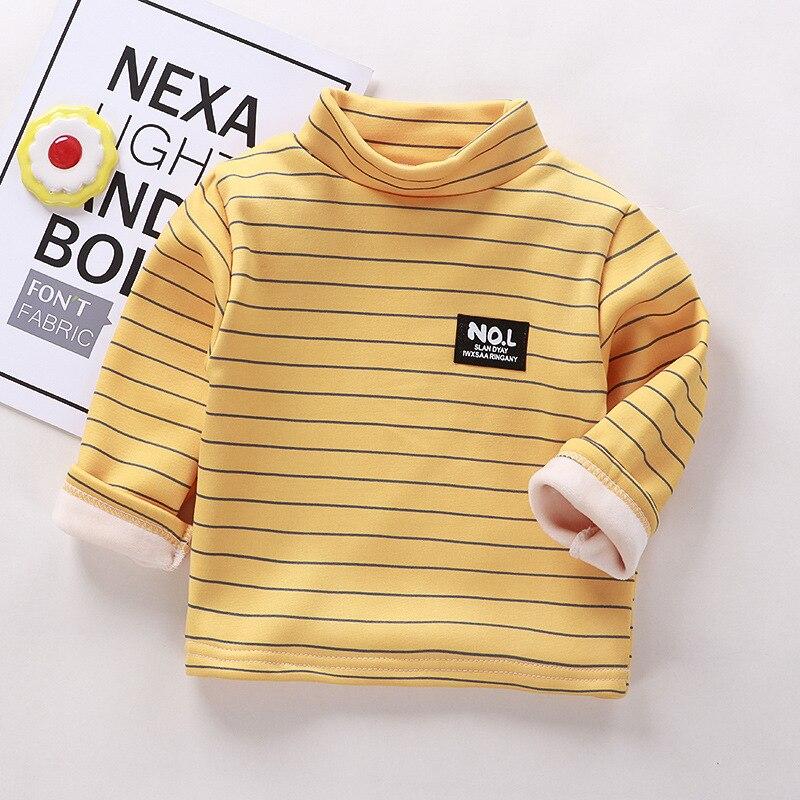 Autumn Winter Warm Solid Polyester Clothes Baby Boys Girls T Shirt Toddler Kids Long Sleeve T-shirt Children Underwear Clothing 5