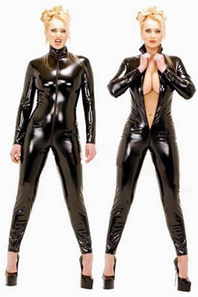 COLDKER <font><b>Sexy</b></font> Black Catwomen Jumpsuit <font><b>PVC</b></font> Spandex Latex <font><b>Catsuit</b></font> Costumes for laies Suits Plus Size XS-6XL image