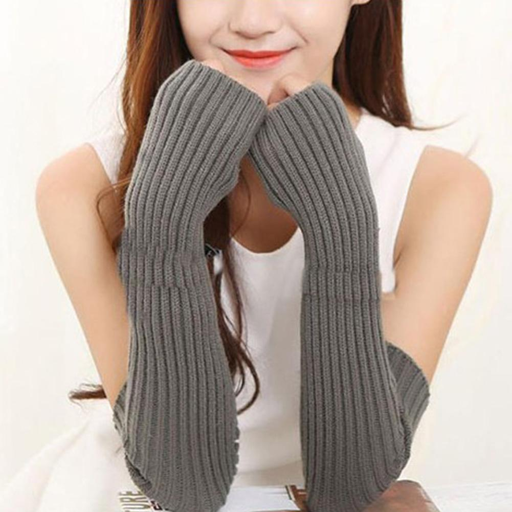 Hand Warm Female Fingerless Arm Warmers Solid Arm Sleeve Arm Cuff Wool Knitted Gloves For Woman Winter Keep Warm High Elastic