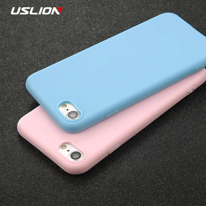 USLION funda para teléfono para iPhone 11X7 6 6s 8 Plus 5 5S SE XR XS 11 Pro max Color sólido ultrafino suave TPU funda Color caramelo