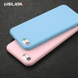 USLION чехол для телефона для iPhone 11X7 6 6s 8 Plus 5 5S SE XR XS 11 Pro Max сплошной цвет Ультратонкий Мягкий ТПУ чехол карамельный цвет