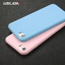 USLION Phone Case For iPhone 7 6 6s Plus 5 5s SE Simple Solid Color Ultrathin Soft TPU Cases Fashion Candy Back Cover Capa