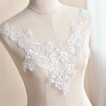 Color 3D flower bead rhinestone mesh gauze embroidery fabric lace dress cloth patch  patch clothes repair wedding dress patch lace hook patch pencil dress with sleeves