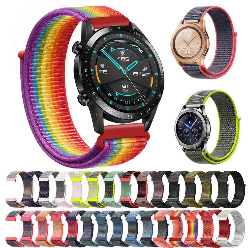 Nylon Band 20mm 22mm For HUAWEI WATCH 2 Pro And Frontier Strap Amazfit Bip Samsung Galaxy Watch 42mm 46mm Active Gear S3 Classic