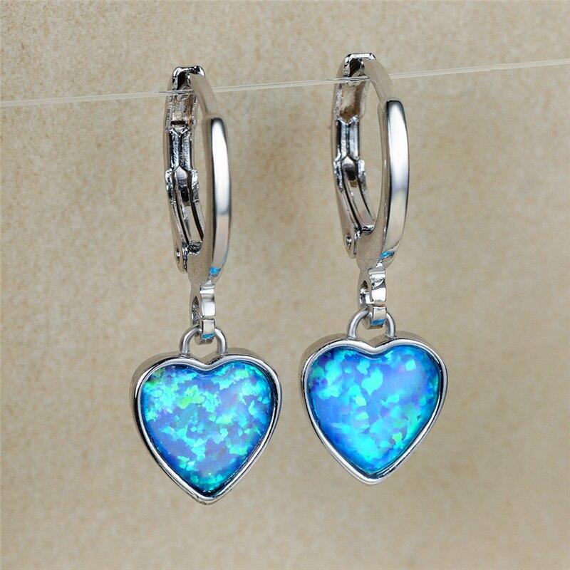 Simple Female Blue Opal Stone Earrings Trendy Love Heart Hoop Earrings Vintage Bridal Silver Color Wedding Earrings For Women