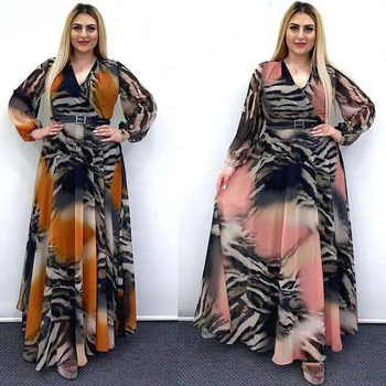 MD African Print Chiffon Dresses For Women Long Sleeve Evening Gowns Plus Size Muslim Fashion
