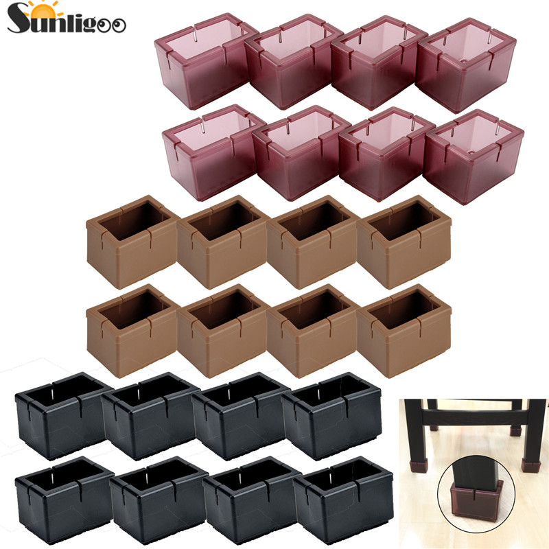 Chair Leg Caps 20 Pcs Square Silicone Furniture Feet Pads Table Cover New