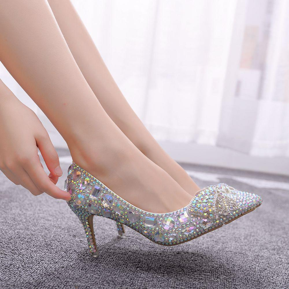 Crystal Queen Crystal Bow Design Women Shoes  Pumps Luxury Pointed Toe High Heels Party Ladies Shoes Wedding Shoes Big Size