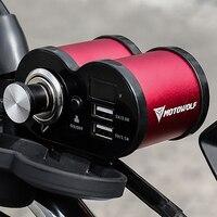 Rearview Mirror Handlebar 2in1 Motorcycle  Charger Power Supply Socket Moto Waterproof Dual USB Adapter Voltmeter Phone Charger
