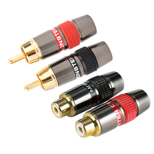2PCS/1Pair RCA Male Plug Female Gold-plated RCA Connector Adapter Support 8mm Cable Audio Connector For TV/amplifier/speaker 4pcs 2pairs gold plated rca connector rca male plug adapter video audio wire connector support 6mm cable black