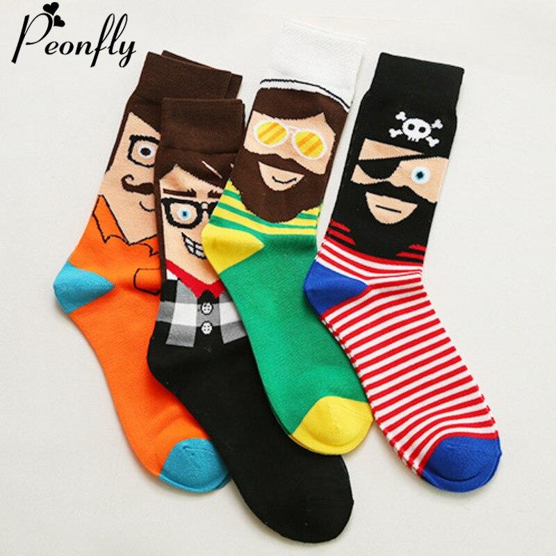 PEONFLY 1 Pair Funny Cartoon Pirate Printed Men's Socks New 2019 Autumn Winter Calcetines Casual Harajuku Cotton Happy Socks