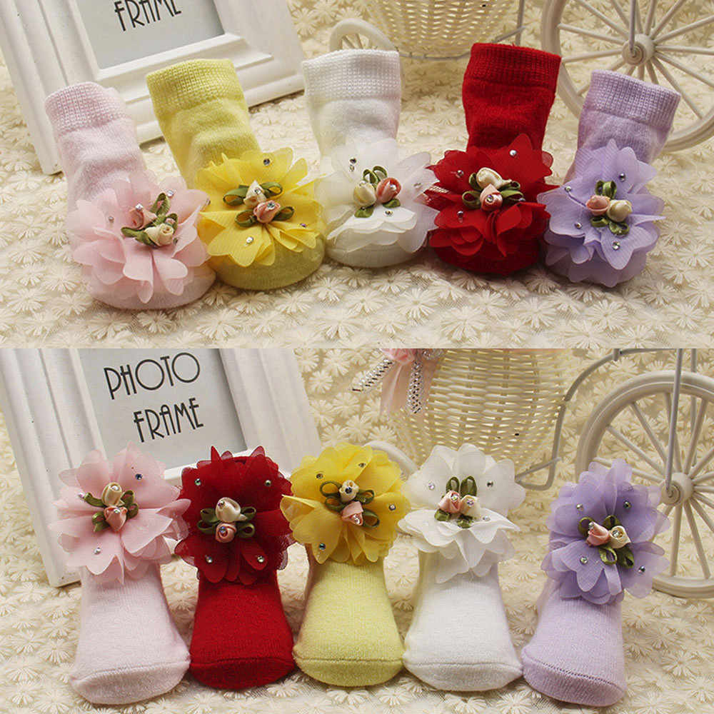 Newborn Baby Girls Socks Flowers Solid Color Cotton Sock Comfortable Princess Warm Ankle Socks Infant Baby Clothes Accessories