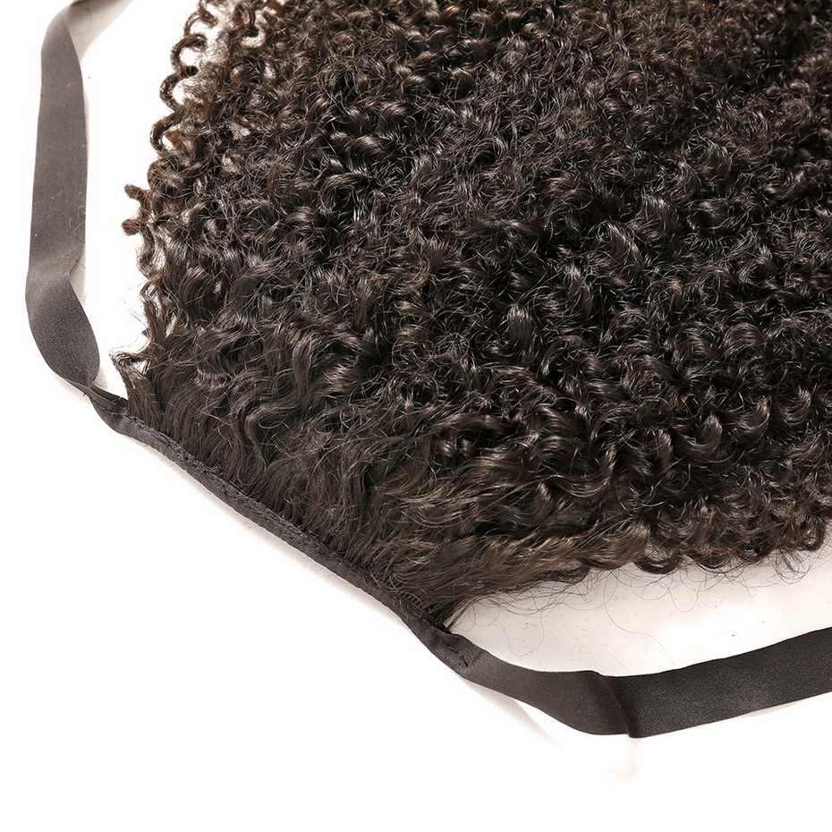 Mshula Afro rizado Cola de Caballo Clip en extensiones 10-30 pulgadas medio Ratio brasileño Remy cabello humano Color Natural para negro
