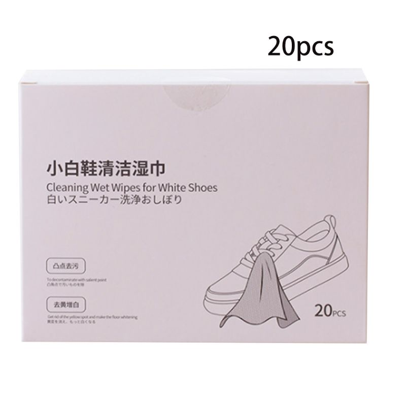 20 Pcs/box Portable Sneakers White Shoes Cleaning Wipes Disposable Leather Shoe Clean Wet Towels T4MB