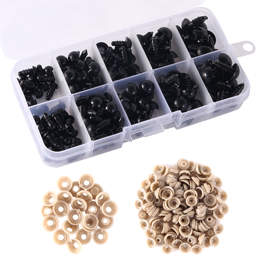 150PCS 6-12mm Black Plastic Crafts Safety Eyes For Teddy Bear Soft Toy Animal Doll Amigurumi DIY Accessories