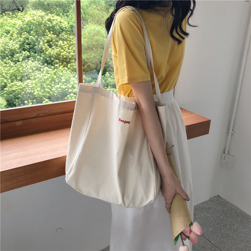 Raged Sheep Canvas Tote Bags Foldable Grocery Bags Embroidery Canvas Large Capacity Recyclable Bag Simple Design Healthy Bag
