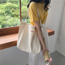 Raged Sheep Canvas Tote Bags Foldable Grocery Embroidery Large Capacity Recyclable Bag Simple Design Healthy