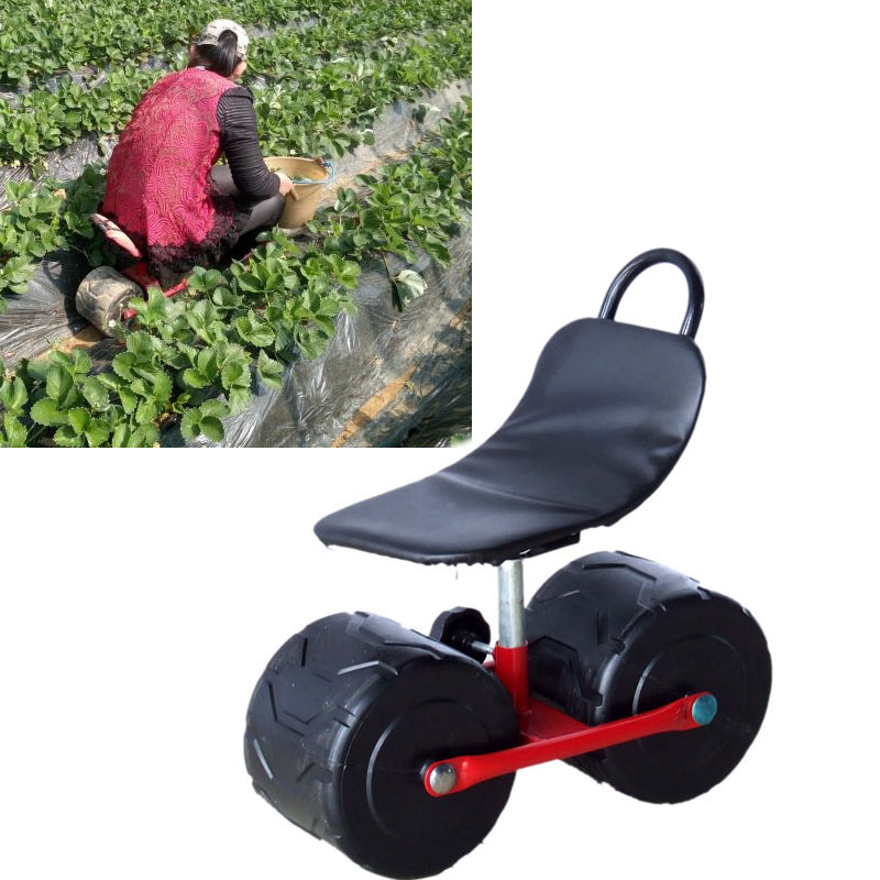 Firm Iron Garden Cart Tool Planting Pickingstool Comfortable PU Sponge Seat Pad Moving Work Chair With WheelsGarden Supplies