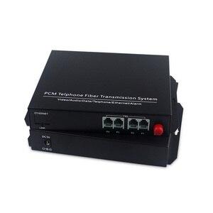 Image 2 - Supporto caller ID e fax 4 Canali pcm multiplexer telefono fibra ottica per rj11 media converter