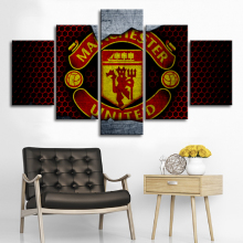 5 Pieces Manchester United Flag Sports Wall Posters Football Canvas Paintings Art Prints Pictures Boys Bedroom Decor Framed