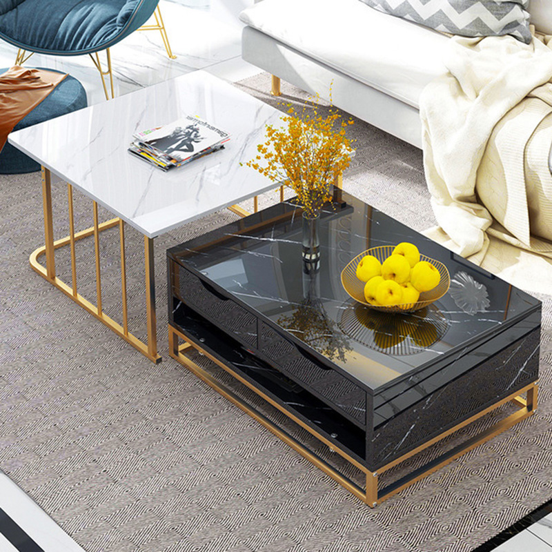 Marble Texture Top Tea Table Small Light Luxury Black White Gold Stell Table Square Rectangle Gorgeous High Level Living Room Sofa Bedside Table For Bedroom Living Room