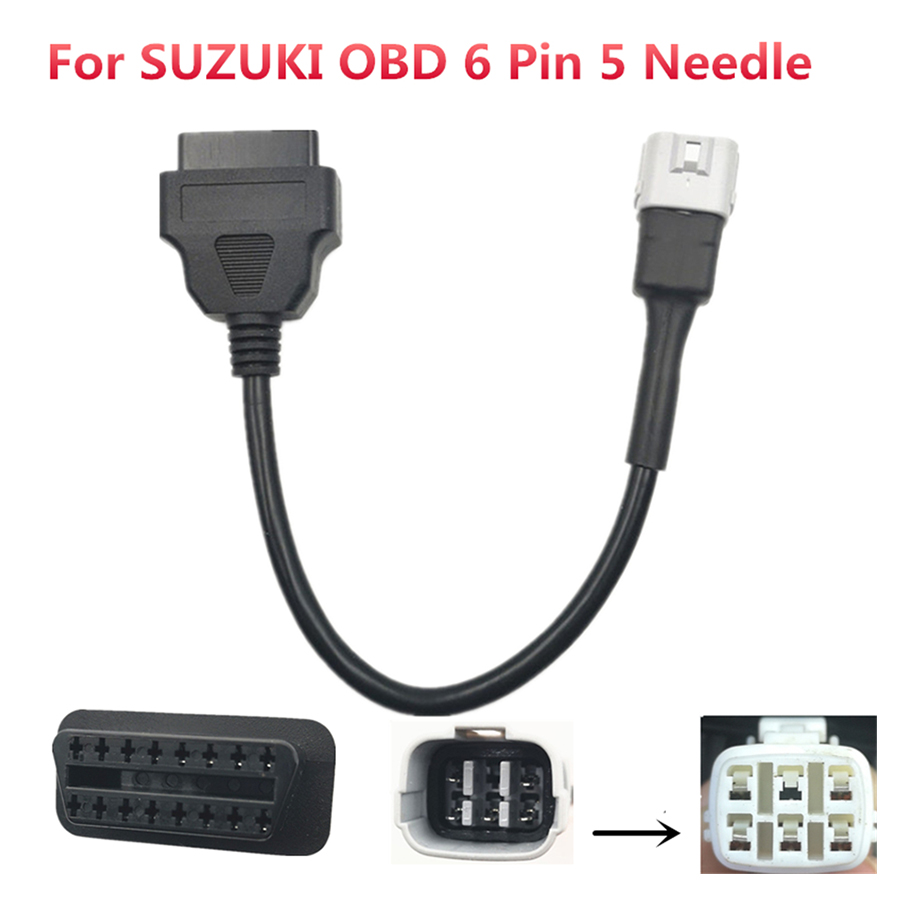 Motorcycle 16 Pin Female Socket To 6 Pin Male Plug Adapter OBD2 6 Pin 5 Needles Diagnostic Cable For SUZUKI Scooter