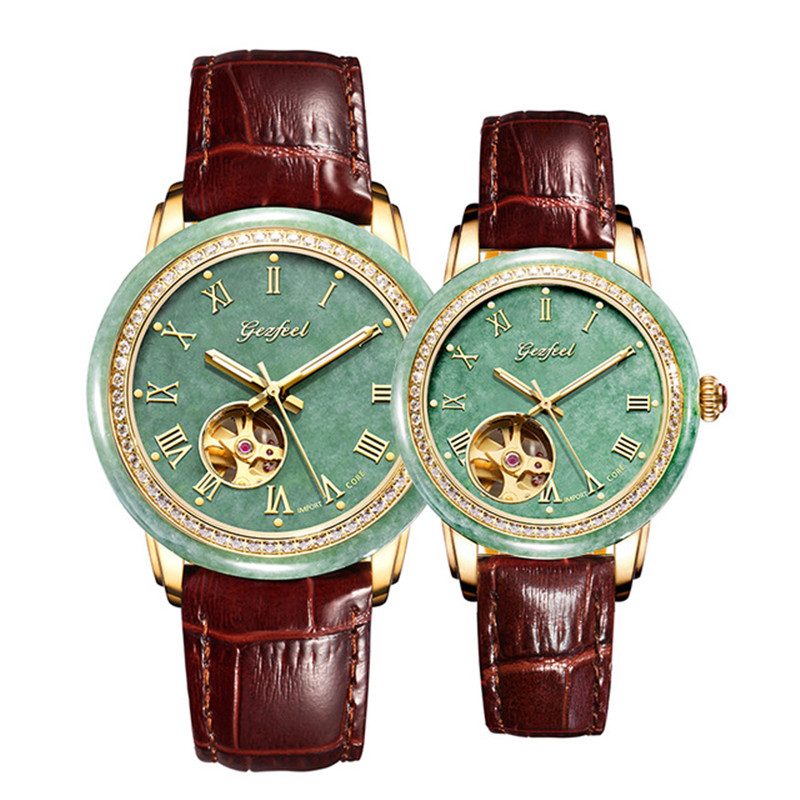 Jade Lovers Watch Leather Strap Automatic Mechanical 30M Waterproof Personality Fashion High-end Watches