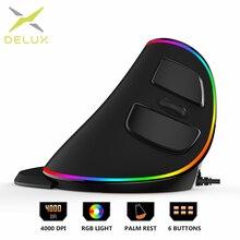Delux M618Plus RGB 인체 공학적 수직 마우스 6 버튼 4000 인치 당 점 광학 컴퓨터 마우스 (PC 랩톱 용 이동식 손목 받침대 포함)