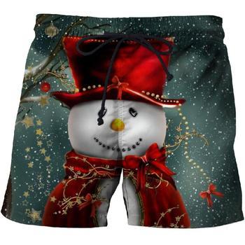 Christmas cartoon snowman fun shorts men's beach pants 3D printing sports quick-drying sportswear comfortable fitness shorts цена 2017