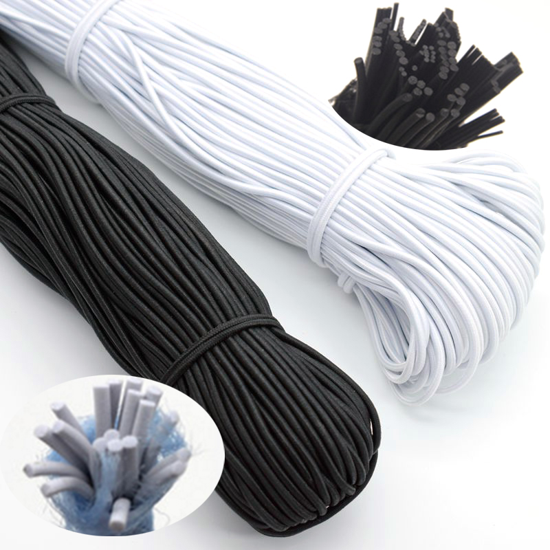 1/2/3/4/5mm High-Quality Round Elastic Band Cord Elastic Rubber White Black Stretch Rubber For Sewing Garment DIY Accessories