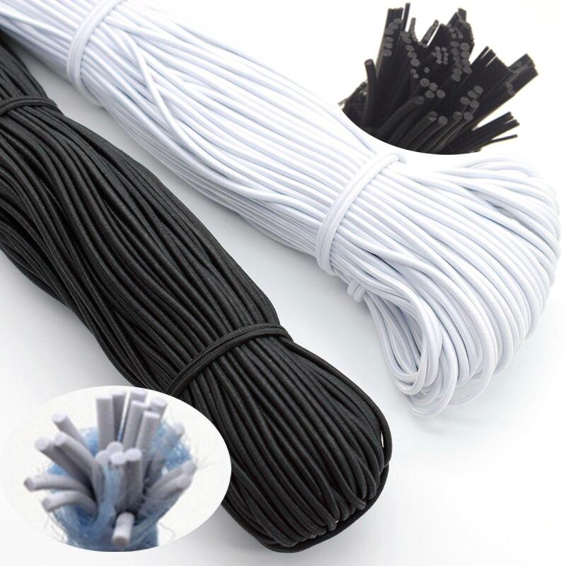 1/2/3/4/5mm elastico tondo di alta qualità cavo elastico in gomma bianco nero gomma elastica per abbigliamento da cucito accessori fai da te