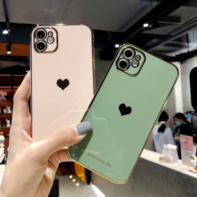 Electroplated love heart Phone Case For iPhone 12Pro 12 11 Pro Max XR XS X XS Max 7 8 Plus Shockproof Protective Back Cover capa 2