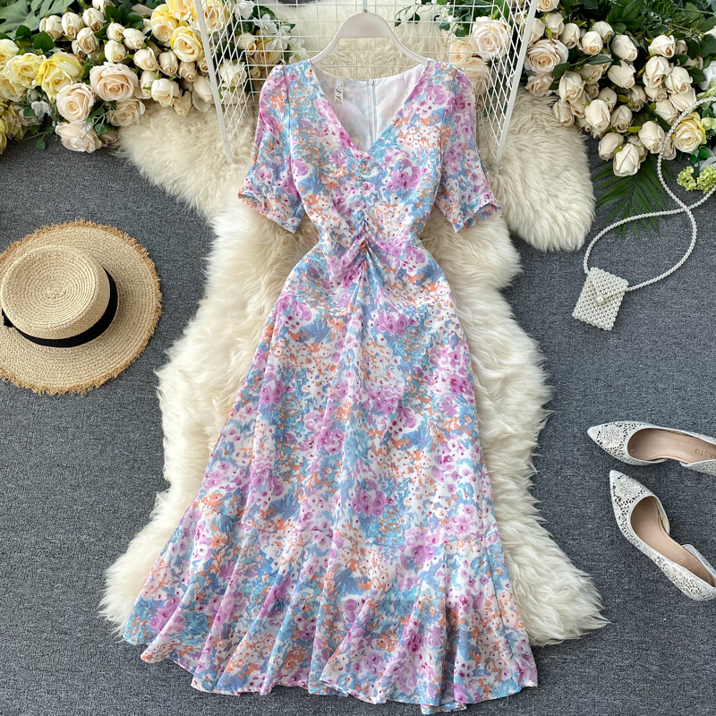 Women Fashion Elegant Floral Print Dress Female Summer 2020 New V-neck Slim Short Sleeve Casual Vestidos Verano L938