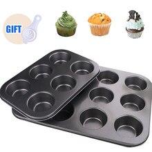 Форма для выпечки тортов с 6/12 отверстиями, форма для Маффин кекса, антипригарная посуда для выпечки «сделай сам» из углеродистой стали, кухо...